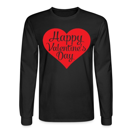 Happy Valentine s Day Heart T shirts and Cute Font - Men's Long Sleeve T-Shirt