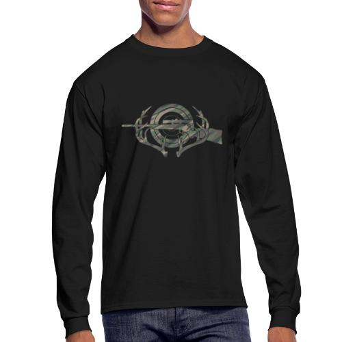 Camouflage Hunting and Shooting Sports Logo - Men's Long Sleeve T-Shirt