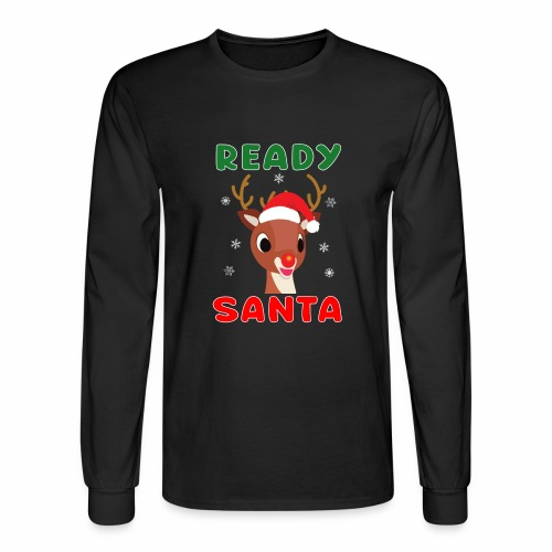 Rudolph Red Nose Reindeer Christmas Snowflakes. - Men's Long Sleeve T-Shirt