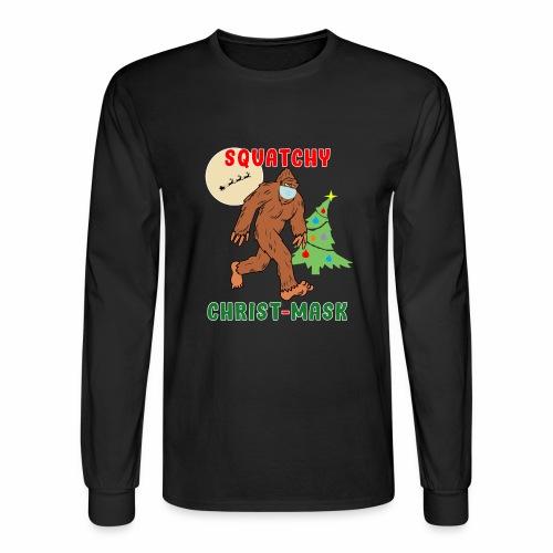 Bigfoot Squatchy Christmas Mask Social Distance. - Men's Long Sleeve T-Shirt