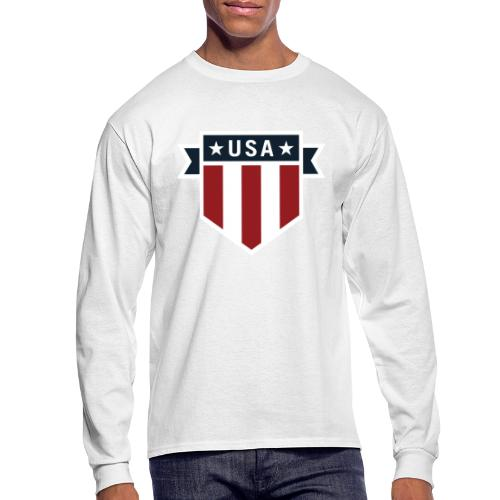 USA Pride Red White and Blue Patriotic Shield - Men's Long Sleeve T-Shirt