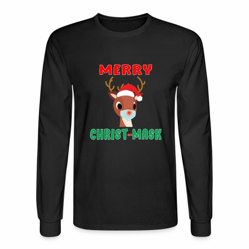 Merry Christmask Rudolph Red Nose Mask Reindeer. - Men's Long Sleeve T-Shirt