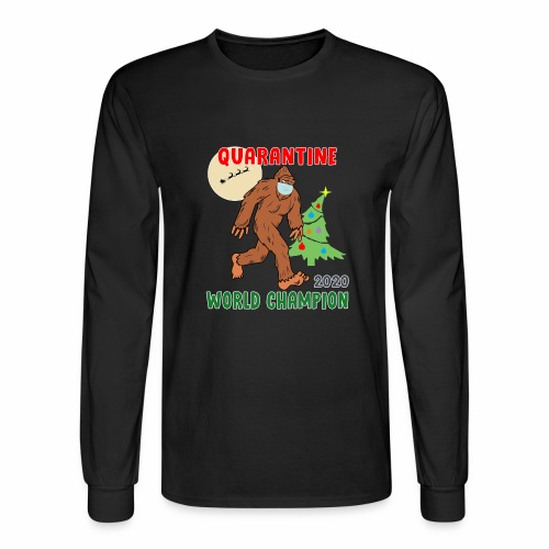 Quarantine World Champion Sasquatch Mask Christmas - Men's Long Sleeve T-Shirt