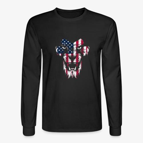 American Flag Lion - Men's Long Sleeve T-Shirt
