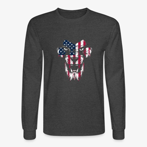 American Flag Lion - Men's Long Sleeve T-Shirt