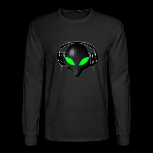 Alien Bug Face Green Eyes in DJ Headphones - Men's Long Sleeve T-Shirt