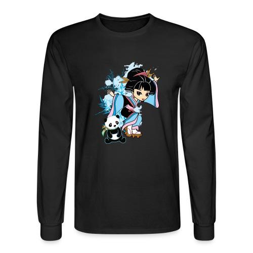 Cartoon Kawaii Geisha Panda Ladies T-shirt by - Men's Long Sleeve T-Shirt
