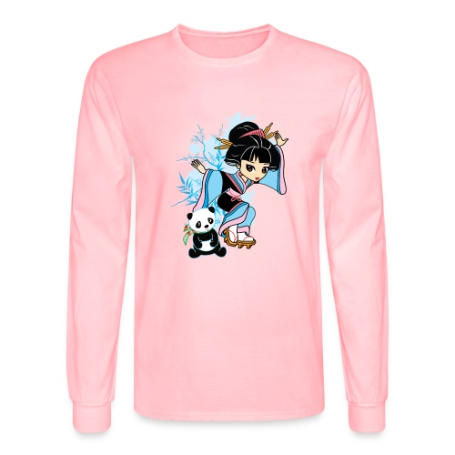 Cartoon Kawaii Geisha Panda Ladies T-shirt by - Men's Long Sleeve T-Shirt