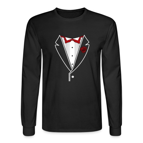 Tuxedo with Red bow tie - Men's Long Sleeve T-Shirt