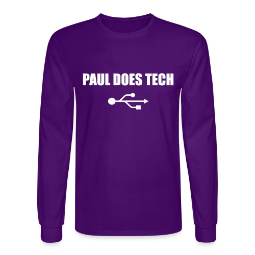 Paul Does Tech White Logo With USB - Men's Long Sleeve T-Shirt
