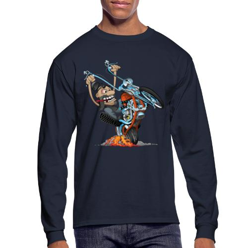 Funny biker riding a chopper cartoon - Men's Long Sleeve T-Shirt