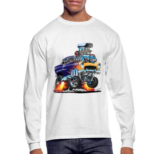 Classic Fifties Hot Rod Muscle Car Cartoon - Men's Long Sleeve T-Shirt