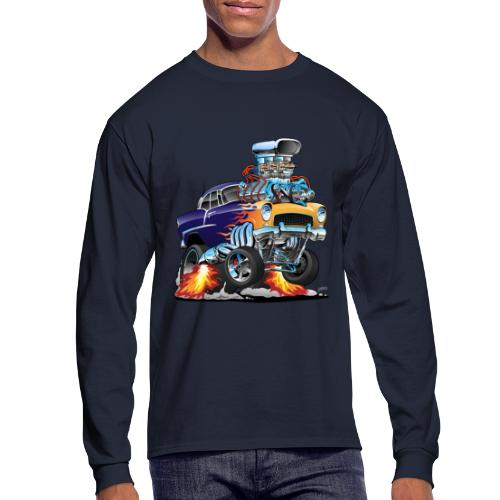 Classic Fifties Hot Rod Muscle Car Cartoon - Men's Long Sleeve T-Shirt