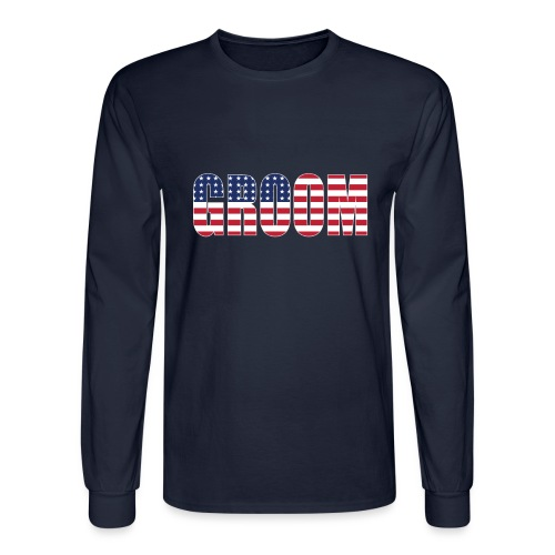 Groom US Flag - Men's Long Sleeve T-Shirt