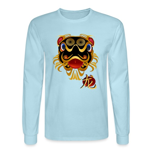 Black n Gold Chinese Dragon 's Face and Symbol - Men's Long Sleeve T-Shirt
