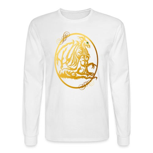 Gold Dragon Oval Design - Men's Long Sleeve T-Shirt