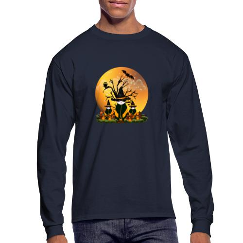 Happy Halloween with 3 masked cats - Men's Long Sleeve T-Shirt
