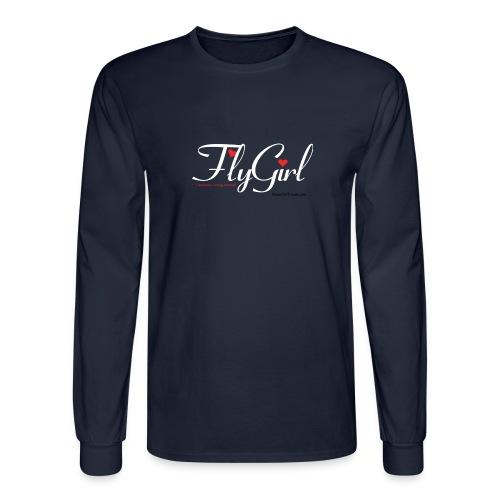 FlyGirlTextWhite W Black png - Men's Long Sleeve T-Shirt