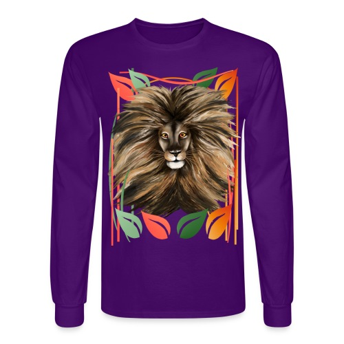 Big Cat and Colorful Jungle - Men's Long Sleeve T-Shirt