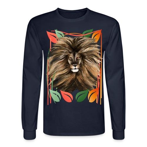 Big Cat and Colorful Jungle - Men's Long Sleeve T-Shirt