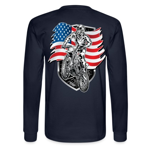 Motocross USA Flag - Men's Long Sleeve T-Shirt