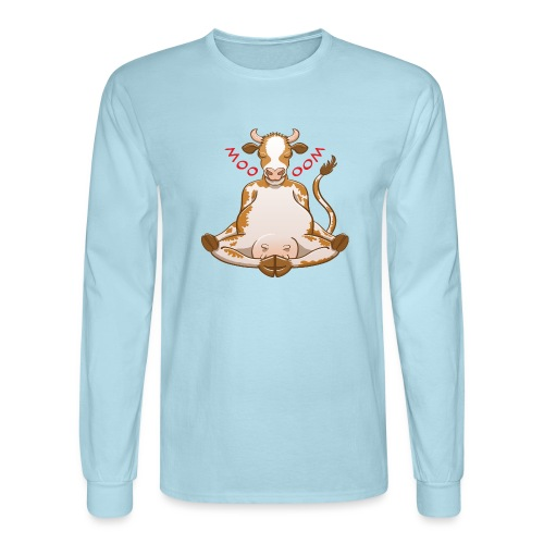 Pretty cow meditating while changing moo into oom - Men's Long Sleeve T-Shirt