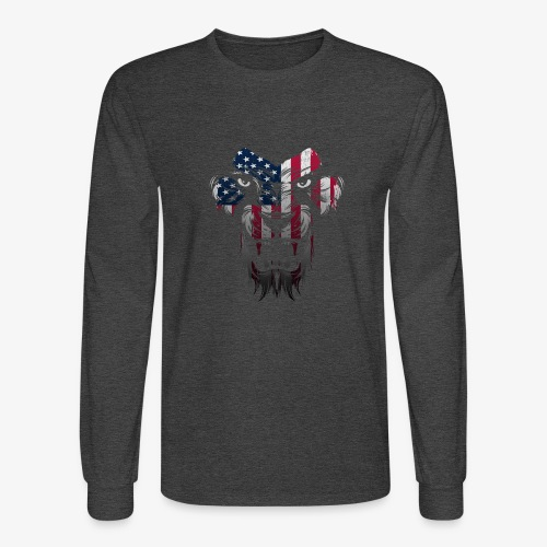 American Flag Lion Shirt - Men's Long Sleeve T-Shirt