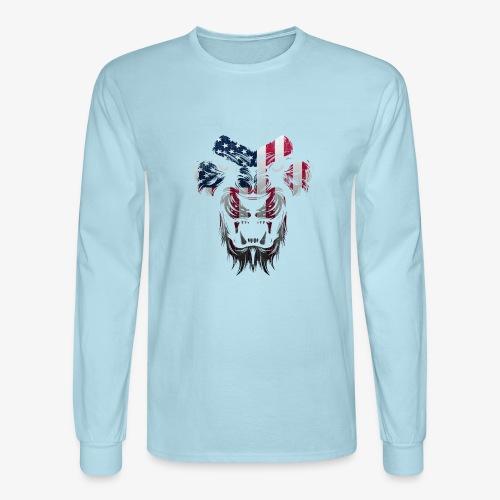 American Flag Lion Shirt - Men's Long Sleeve T-Shirt