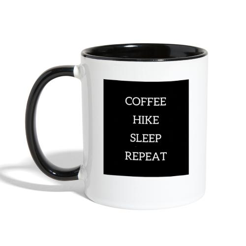 Coffee hike sleep repeat black background - Contrast Coffee Mug