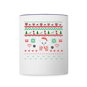 Scandinavian White Christmas Cat - Contrast Coffee Mug