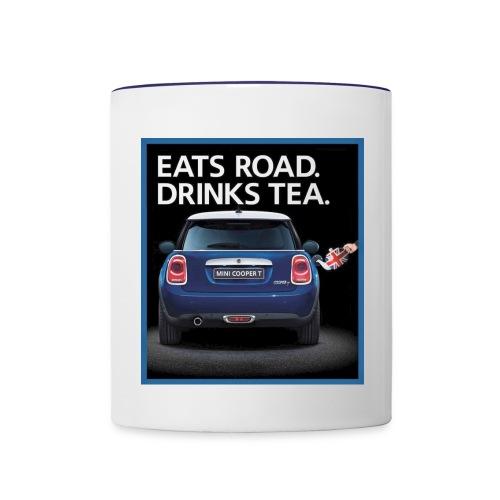 Eats road drinks tea - Contrast Coffee Mug
