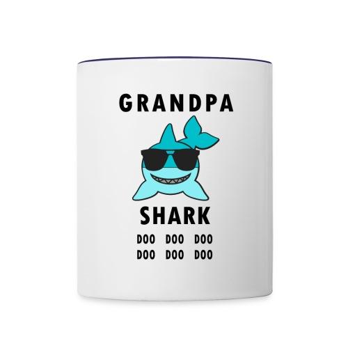 Grandpa Shark Doo Doo Doo Funny Shark - Contrast Coffee Mug