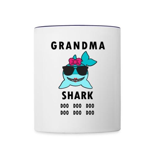 Grandma Shark Doo Doo Doo Funny Shark - Contrast Coffee Mug