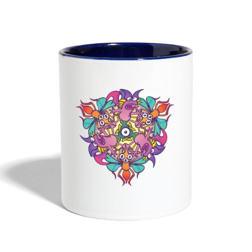 Mosquitoes, bats and fishes in doodle art style - Contrast Coffee Mug