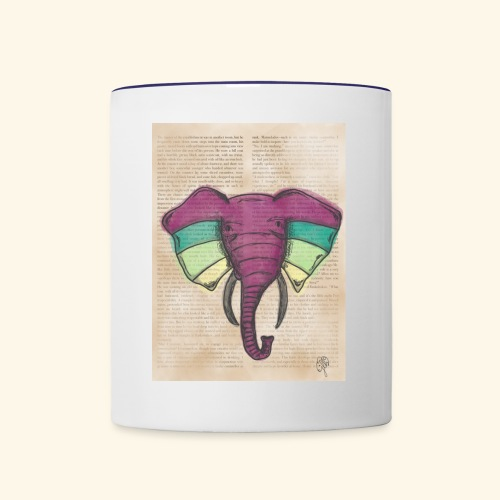 Elephant Water Color Face - Contrast Coffee Mug