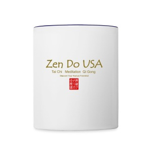Zen Do USA logo and cell phone clothing busshist - Contrast Coffee Mug