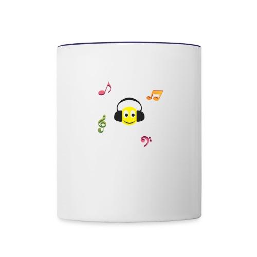 smiley face headphones - Contrast Coffee Mug