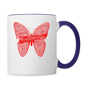 BUTTERFLY WORD RED - Contrast Coffee Mug