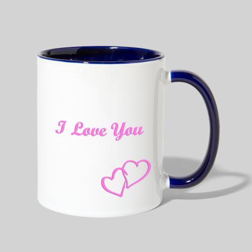 Double Heart Contrast Mug Pink - Contrast Coffee Mug