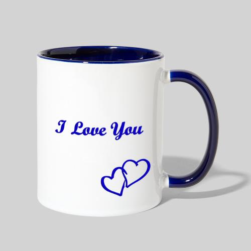 Double Heart Contrast Mug Blue - Contrast Coffee Mug