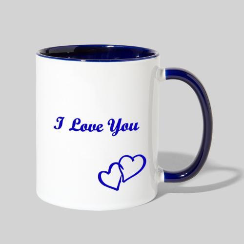 Double Heart Contrast Mug Blue - Contrast Coffee Mug