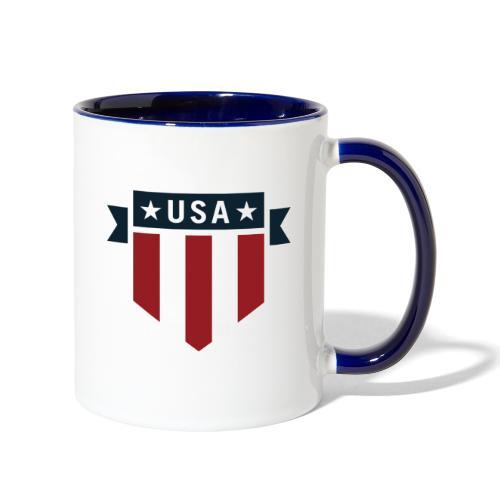 USA Pride Red White and Blue Patriotic Shield - Contrast Coffee Mug