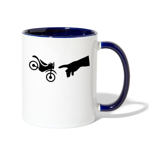 The hand of god brakes a motorcycle as an allegory - Contrast Coffee Mug