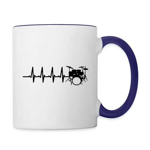 Drums Heartbeat Funny drummer - Contrast Coffee Mug