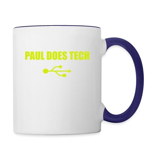 Paul Does Tech Yellow Logo With USB (MERCH) - Contrast Coffee Mug