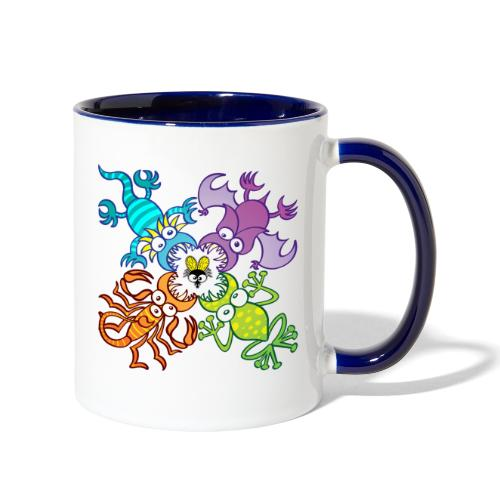 Bat, lizard, scorpion and frog stalking a poor fly - Contrast Coffee Mug