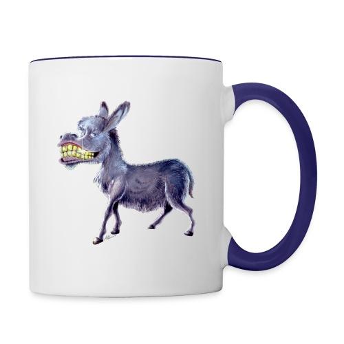 Funny Keep Smiling Donkey - Contrast Coffee Mug