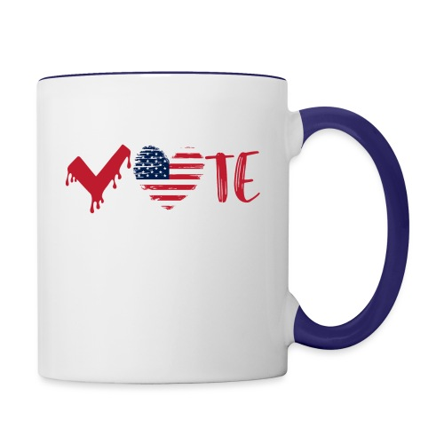 vote heart red - Contrast Coffee Mug