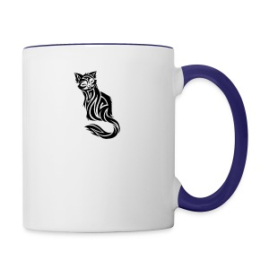 elegant-cat-with-bird-tattoo-design-5 - Contrast Coffee Mug