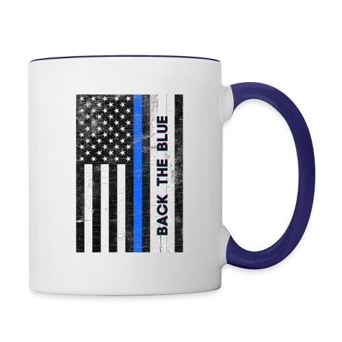 BACK THE Blue Police Officer USA - Contrast Coffee Mug